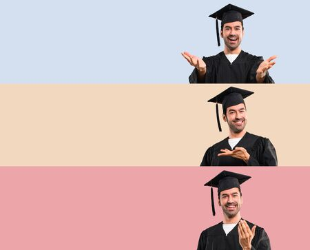 Set of Man on his graduation day University presenting and inviting to come with hand. Happy that you came on colorful background