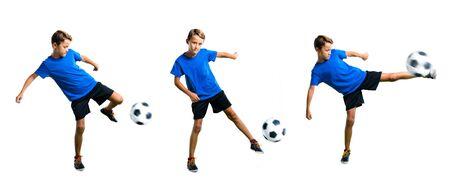 Set of Boy playing soccer kicking the ball