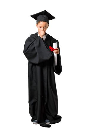 Full body of Little boy graduating is suffering with cough and feeling bad on isolated white background