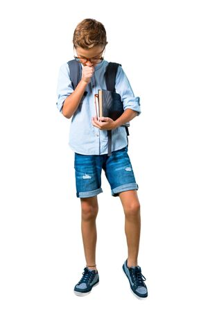 Full body of Student boy with backpack and glasses is suffering with cough and feeling bad on isolated white background