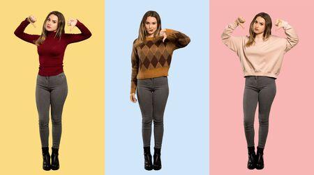 Set of women showing thumb down