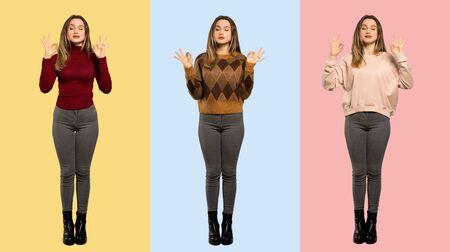 Set of women in zen pose Stock Photo