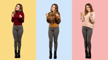 Set of women making money gesture