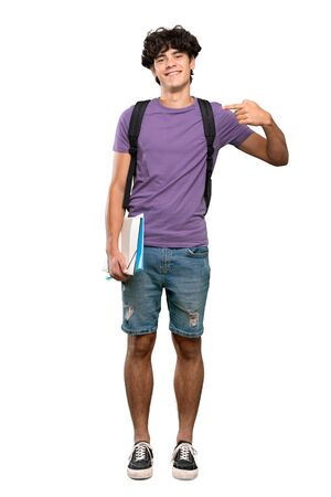 A full-length shot of a Young student man proud and self-satisfied over isolated white background