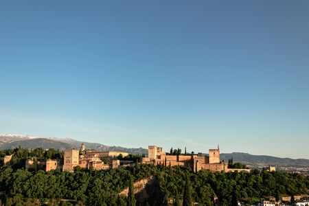 Panorama of the famous Alhambra palace in Granada, Spain. Picture taken in spring