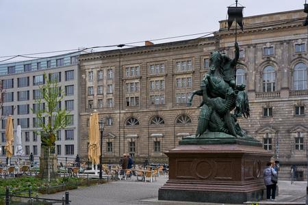 Statue of Saint George killing a dragon, in Berlin