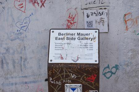 Metallic plate of the Berlin Wall Eastside Gallery  in Berlin