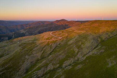 Serra da Freita drone aerial view in Arouca Geopark at sunset, in Portugal Stock Photo