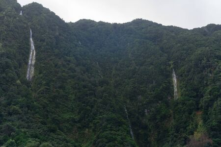 View of waterfalls on the landscape mountains of Madeira