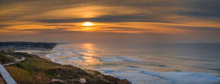 Sunset in Foz do Arelho beach, Portugal