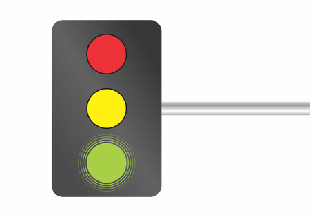 Illustration of traffic lights on white background