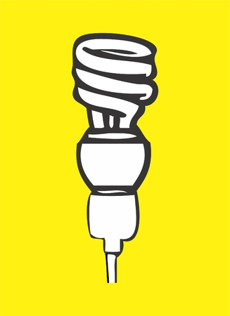 Illustration of a lamp in spiral format on yellow background