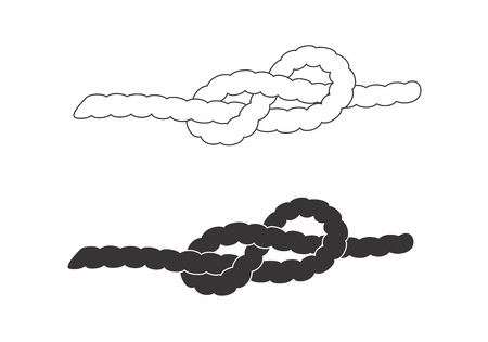 Illustration of ropes with knots on white background Illustration