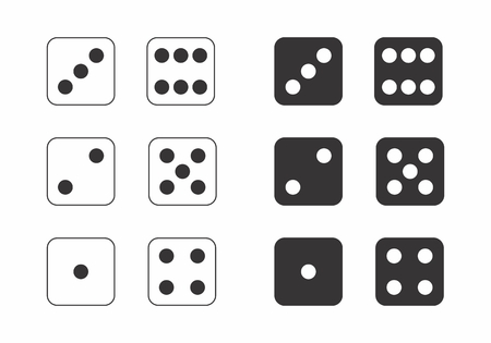 Black and white illustration of dice showing the numbers from 1 to 6.