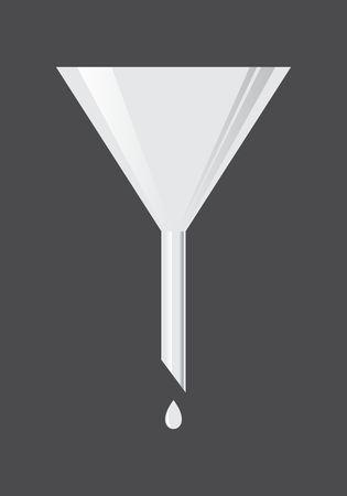 Illustration of a metal funnel on dark background Illustration