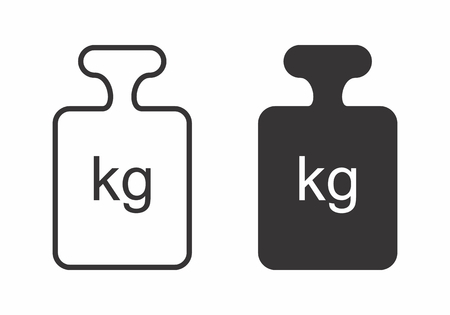 Icons of weights. Black outline illustration on white background. Illustration