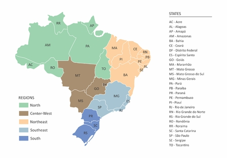 Map of Brazil with divisions of states and regions Vector illustration.