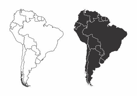 Simplified maps of the south america with countries boundaries. Black and white outlines. Illustration