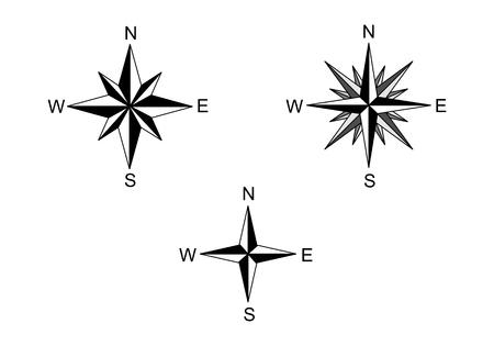 Set of wind roses illustrations on white background Illustration