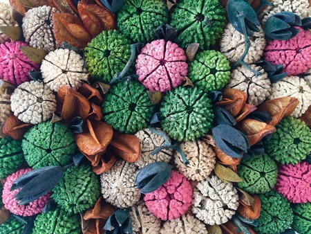 Texture of a set of colorful artificial flowers buds
