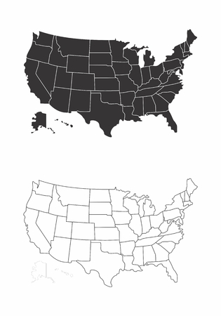 Simplified maps of the United States with state divisions. Black and white outlines.