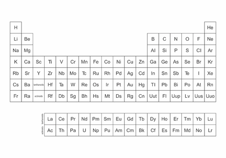 Illustration of a simplified Periodic Table of the Elements Illustration