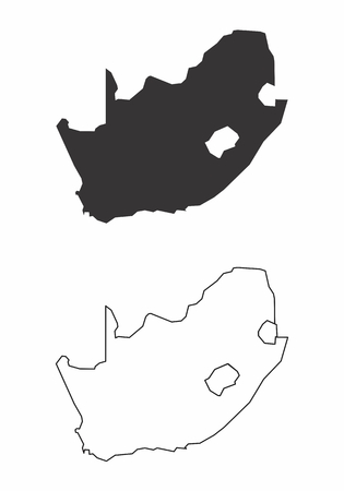 Simplified maps of South Africa. Black and white outlines.