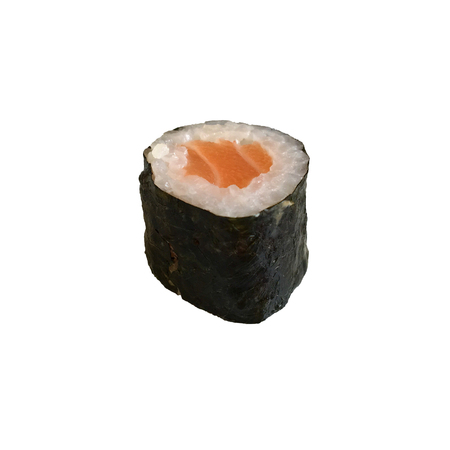 A salmon hosomaki sushi isolated on white background Stock Photo