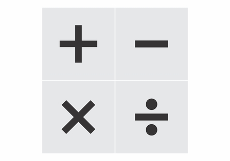 Signs of basic math operations: addition, subtraction, multiplication and division Vector Illustration