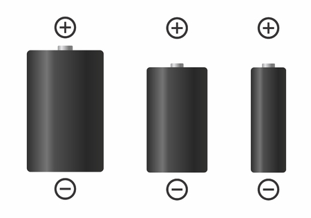 Set of electric batteries of different sizes on white background 일러스트
