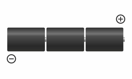 Illustration of a set of connected batteries in series