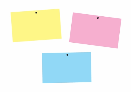 Illustration of colorful post-its on white background