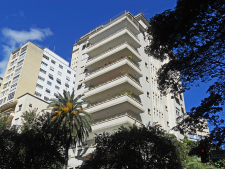 Modernist residential building in Higienopolis neighborhood in Sao Paulo, Brazil