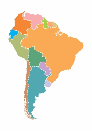 A colorful map of South America on white background