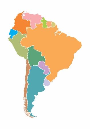 Una mappa colorata del Sud America su sfondo bianco