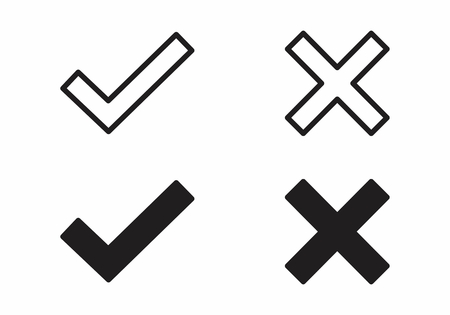 Icons of check and error isolated on the white background Illustration