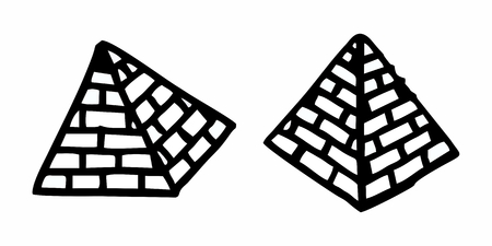 Hand-drawn style illustration of pyramids on white background