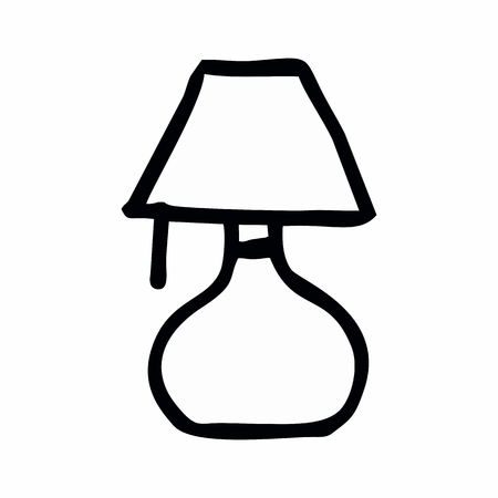 Freehand illustration of an isolated lampshade. Black outlines on white background.