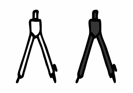 Freehand illustration of isolated compasses. Black outlines on white background.