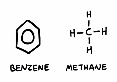 Freehand illustration of some chemical structural formulas