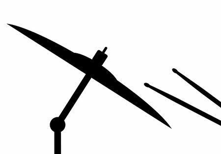 Dark silhouette of drum sticks hitting a cymbal on white background