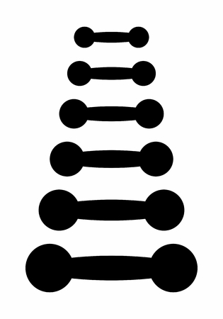 A set of dumbbells silhouettes on white background