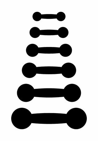 Un conjunto de siluetas de pesas sobre fondo blanco.