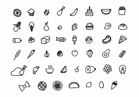 A set of freehand style food icons. Black outlines on white background.