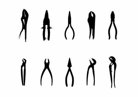 A set of dark silhouettes of pliers on white background Vetores