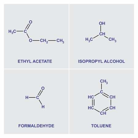 A set of structural chemical formulas of four substances Stock Vector - 106560957