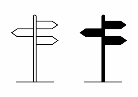 Black and white illustration of isolated direction plates