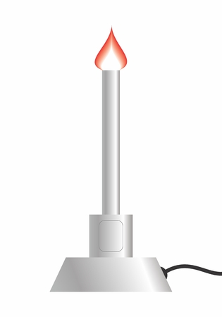 Colorful illustration of a Bunsen burner isolated on white background
