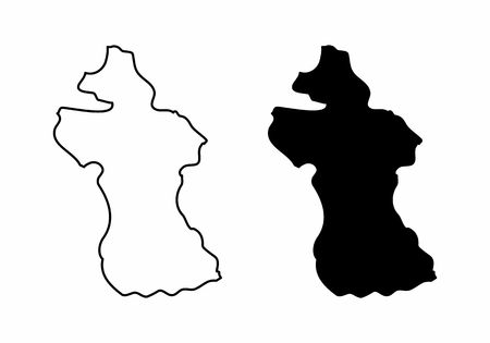 Simplified maps of Guyana. Black and white outlines.