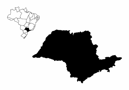 Silhouette of the Sao Paulo State and its location in Brazil map